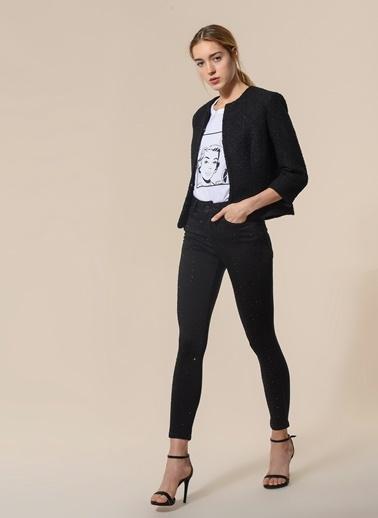 Agenda Taş Detaylı Skinny Pantolon Siyah